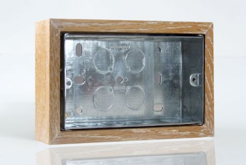 Varilight XKBOXDLO Kilnwood Limed Oak Surface Mounted Pattress Box Double 25mm